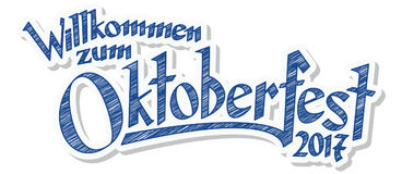 Header with text Oktoberfest 2017. Blue and white header with scribble pattern and text welcome to the Oktoberfest 2017 & x28;in german& x29 Stock Photo