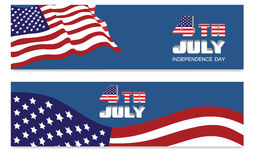 Header for 4th of July. American Independence Day celebrations. Website header or banner set with national flag Royalty Free Stock Photography