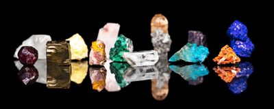 Header, variety of mineral gemstones and healing stones, natural. Header, variety of colorful mineral gemstones and healing stones, natural and raw Royalty Free Stock Images