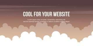 Header website design with cloud background. Vector illustration stock illustration