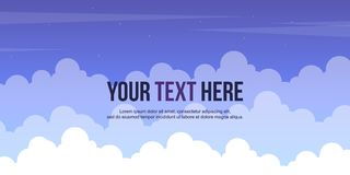 Header website design with cloud background. Vector illustration royalty free illustration