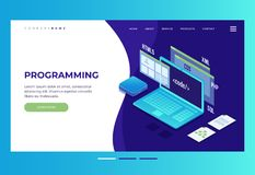 Header for website. Homepage. Concept of web development, programming and coding. stock illustration