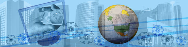 Header: World wide e-commerce and movement. This blue banner / header shows in the background skyscrapers / big buildings. They are metaphors for success in Royalty Free Stock Photography