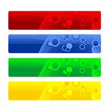 Headers or Banners. Brightly-colored headers or banners - red, blue, green, and yellow with accents - isolated on white background Stock Photos