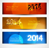 Headers and banners set  New year 2014. Colorful design Stock Images