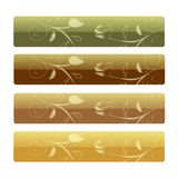 Headers with Floral Rose. Four decorative header / banner designs with rose buds, isolated on white background Royalty Free Stock Image