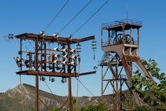 Headframe della miniera del pozzo Fotografia Stock
