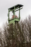 The headframe of Mine Georg in Willroth, Germany. The headframe of Mine Georg, a historic coal mine that was closed in 1965 in Willroth, Germany Royalty Free Stock Images