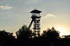 Headframes/elevatortorn av den övergav kolgruvan, Puertollano, Ciudad Real, Spanien, Ciudad Real landskap, Spanien Royaltyfri Bild