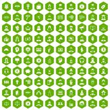 100 headhunter icons hexagon green. 100 headhunter icons set in green hexagon isolated vector illustration Stock Images