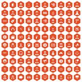 100 headhunter icons hexagon orange. 100 headhunter icons set in orange hexagon isolated vector illustration Stock Images