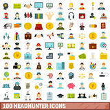 100 headhunter icons set, flat style Stock Photos