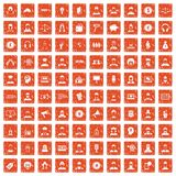 100 headhunter icons set grunge orange. 100 headhunter icons set in grunge style orange color isolated on white background vector illustration Stock Image