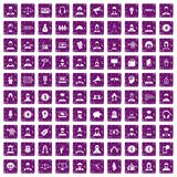 100 headhunter icons set grunge purple. 100 headhunter icons set in grunge style purple color isolated on white background vector illustration Royalty Free Stock Photos