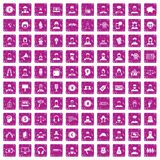 100 headhunter icons set grunge pink. 100 headhunter icons set in grunge style pink color isolated on white background vector illustration Royalty Free Stock Photo