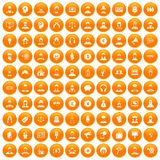 100 headhunter icons set orange. 100 headhunter icons set in orange circle isolated vector illustration Vector Illustration