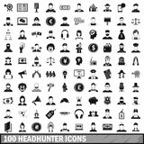 100 headhunter icons set, simple style Stock Photography
