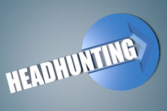 Headhunting. 3d text render illustration concept with a arrow in a circle on blue-grey background Stock Photo