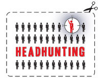 Headhunting poster. Illustrated poster for a headhunting. The concept of uniqueness Stock Images