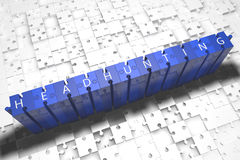 Headhunting. Puzzle 3d render illustration with block letters on blue jigsaw pieces Royalty Free Stock Photography