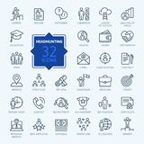 Headhunting And Recruiting - minimal thin line web icon set. stock illustration