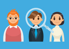 Headhunting and Recruitment illustration with candidate people. Flat icon vector illustration. Magnifying Glass. Headhunting and Recruitment illustration with Royalty Free Stock Photos