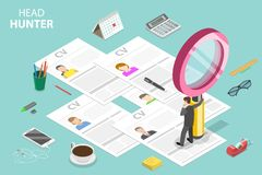 Headhunting and recruitment isometric flat vector concept. stock illustration