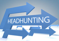 Headhunting. Render concept with blue arrows on a bluegrey background Royalty Free Stock Photo