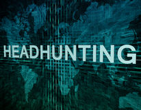 Headhunting. Text concept on green digital world map background Royalty Free Stock Photo