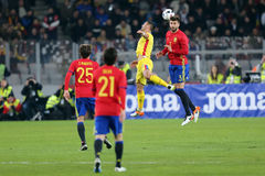 Heading duel Gerard Pique and Florin Andone Royalty Free Stock Images
