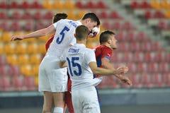 Heading fight. PRAGUE 27/03/2015 _ Friendly match Czech Reublic U21 - England U21 Stock Photo