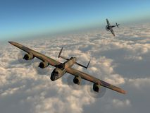 Heading home. A 3d rendered illustration of a WWII bomber plane being pursued by an enemy fighter Royalty Free Stock Photography