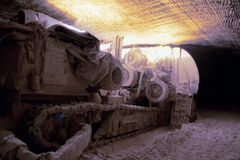 Heading machine in underground salt mine Stock Photos