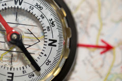 Heading North West. Compass on a map showing heading, north west Stock Photography