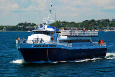 Heading out on the ferry. Passangers on board to take a ferry to Cape Cod Royalty Free Stock Photos