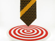 Heading to the target, Necktie pointed to the bullseye stock photo