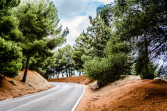 Heading to the Unknown. A bend in the road disappears into the forest Royalty Free Stock Image