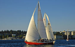 Heading West. Sailing on Lake Washington out of Kirkland, WA Stock Photo