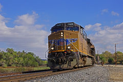 Heading West down San Timoteo Canyon. UP freight heading west out of Beaumont California Royalty Free Stock Photos