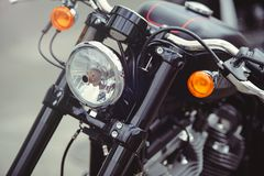 Headlamp of a classic motorcycle, stylish front view, close-up Royalty Free Stock Photography