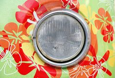 Headlamp of hippie car Royalty Free Stock Image