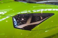 Headlamp of mid-engined sports car Lamborghini Aventador LP 750-4 SuperVeloce, 2016. Stock Images