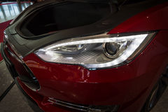 Headlamp and trunk of full-size luxury car Tesla Model S AWD 90D, 2015. Stock Photo