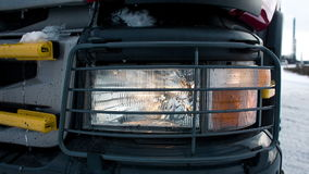 Headlamps of truck close up stock video footage