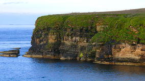 Headland Cliffs. Cliffs of a headland with seabirds nesting and calm blue ocean below Royalty Free Stock Photography