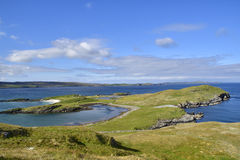 Headland. Landscape showing typical Shetland island ness or headland, Stockan, Lingness, north east Mainland, Shetland, Scotland Royalty Free Stock Images