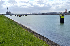 Headland at Rozenburg. On the headland at Rozenburg is much industry to see but also nature, the port of Rotterdam. The Netherlands Royalty Free Stock Photo