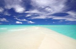 Headland of a tropical beach. With blue sky, white sand and turquoise water Royalty Free Stock Photos