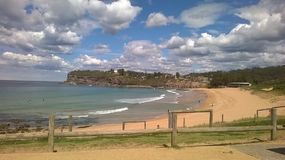 Headland. View across the beach at the headland Stock Photo
