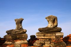 Headless Buddha ruins at the temple in Ayutthaya Royalty Free Stock Image